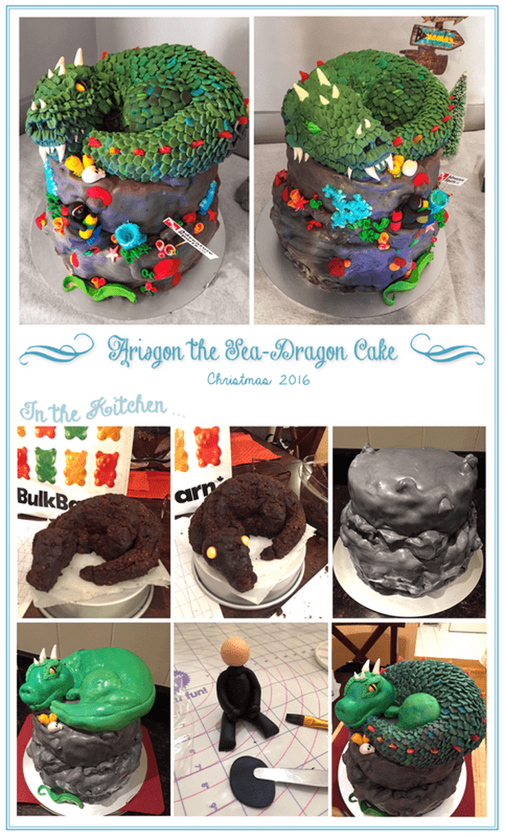 Scuba Dragon cake design